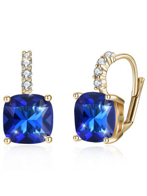 trendy Sparkling Crystal Rhinestone Inlaid Level Back Earrings - ROYAL BLUE  Mobile