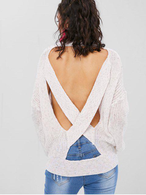 Suéter de punto grueso con espalda abierta - Blanco Cálido S Mobile