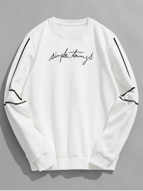 best Embroidery Letter Striped Fleece Sweatshirt - WHITE L Mobile