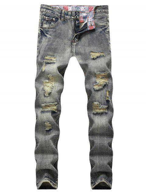 unique Light Wash Zip Fly Destroyed Jeans - CARBON GRAY 42 Mobile