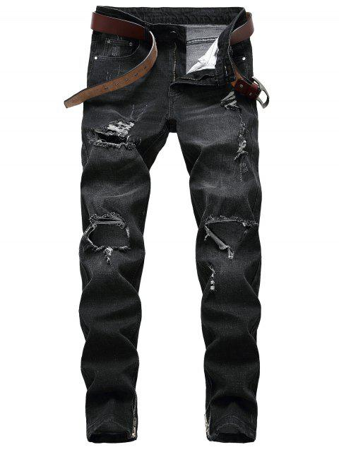 Distressed Faded Wash Zip Saum Jeans - Schwarz 40 Mobile