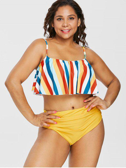 online Plus Size Flounce Colorful Striped Bikini - RUBBER DUCKY YELLOW 2X Mobile