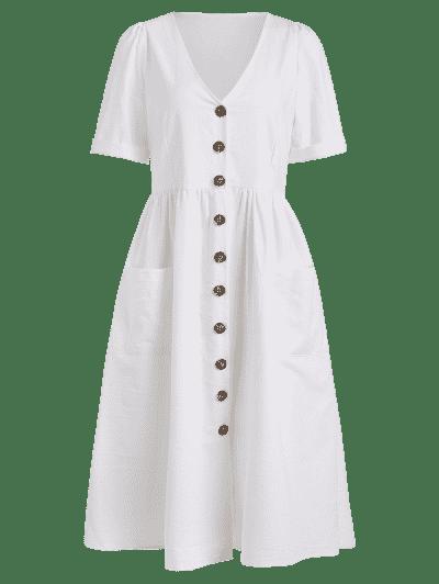 Bolsos Botão Front Loose Fitting Midi Dress - Branco L