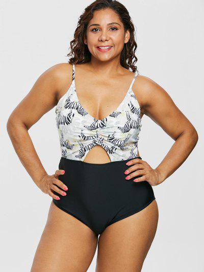 2cedd936f81 Plus Size Zebra High Waisted Contrast Swimsuit - Multi L