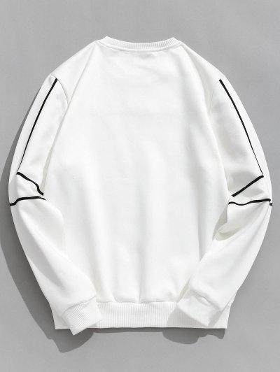 Embroidery Letter Striped Fleece Sweatshirt - Branco L