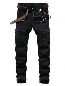 جينز متعدد جيب الرمز البريدي مزين السائق   - أسود 32