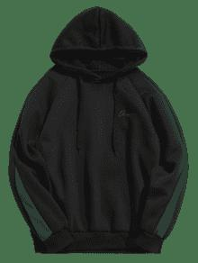 Negro Fleece Carta Contraste Stripes Xs Hoodie qHCpE8wx