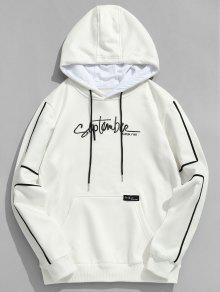 جيب التطريز الصوف هوديي التباين - أبيض S