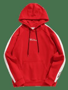Bordado Con En Sudadera Contraste De Rojo Xs Con Capucha Lana Contraste En Blanca HpHx0q8Xw