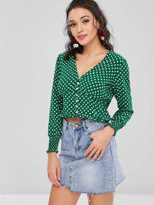 bfe85c85 20% OFF] 2019 Long Sleeve Polka Dot Button Up Blouse In MEDIUM SEA ...