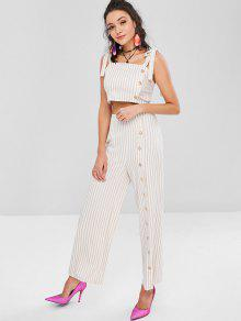 cb8b8ca2ca9 29% OFF  2019 Tie Shoulder Striped Crop Top And Pants Set In APRICOT ...