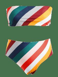 Y a De Talle Rayas Alto Grandes Con Multicolor Tipo 2x Bandeau Bikini Tallas wIqp0PP