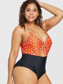 277f012643 25% OFF  2019 High Cut Floral Plus Size Swimsuit In GRAPEFRUIT 1X ...