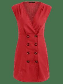 Vestido Corto Abotonado M Amo Bajo Rojo gpgqwT