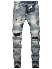 جينز دمرت تلاشي غسل الرمز البريدي ذبابة  - ازرق رمادي 40