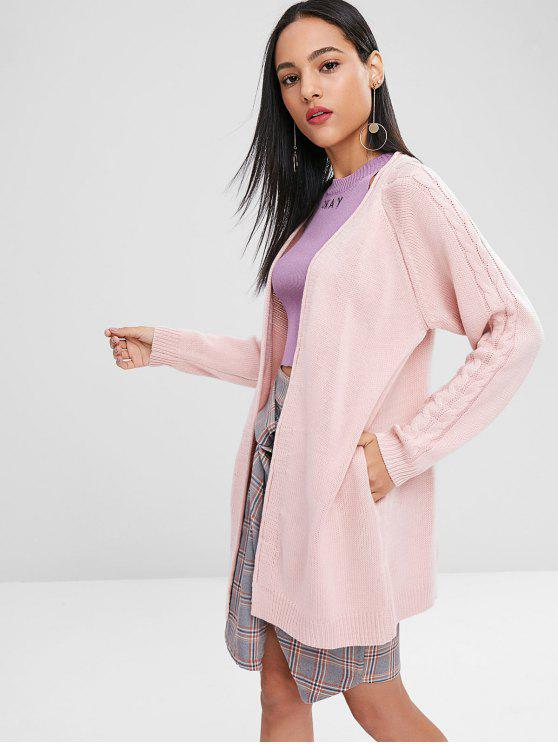 trendy Cable Knit Raglan Sleeve Cardigan - PIG PINK ONE SIZE