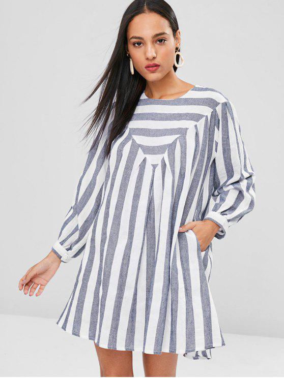 Mini vestido de la túnica a rayas - Gris Azulado S