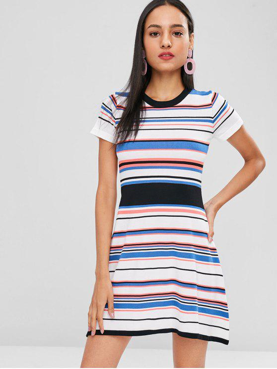 outfits A Line Striped Knitted Dress - MULTI ONE SIZE