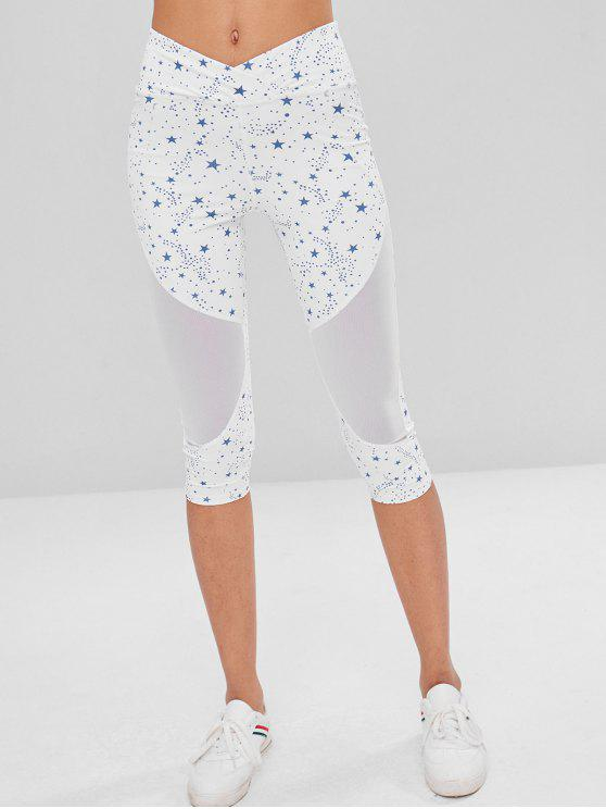unique Star Mesh Panel Cropped Leggings - WHITE M