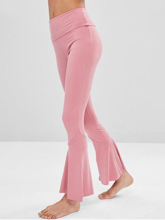 womens High Waisted Flare Yoga Pants - WATERMELON PINK L