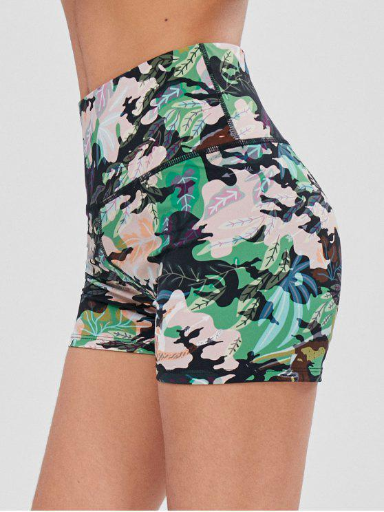 women Leaf Print High Waisted Gym Bike Shorts - FOREST GREEN S