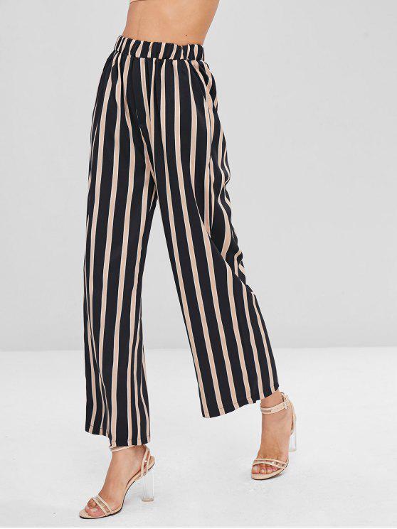 Pantalones de pierna ancha a rayas - Multicolor M