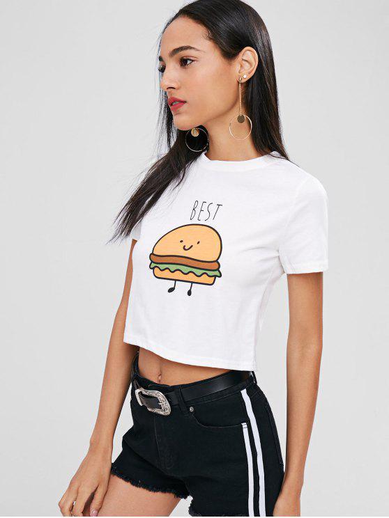 Camiseta cortada gráfica - Blanco M