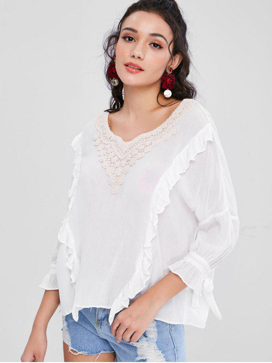 Crochet Flower Applique Plissado Boho Blusa - Branco L