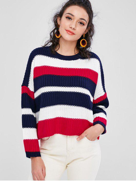 Gestreifter Chunky Boxy Übergroße Pullover - Multi Eine Größe