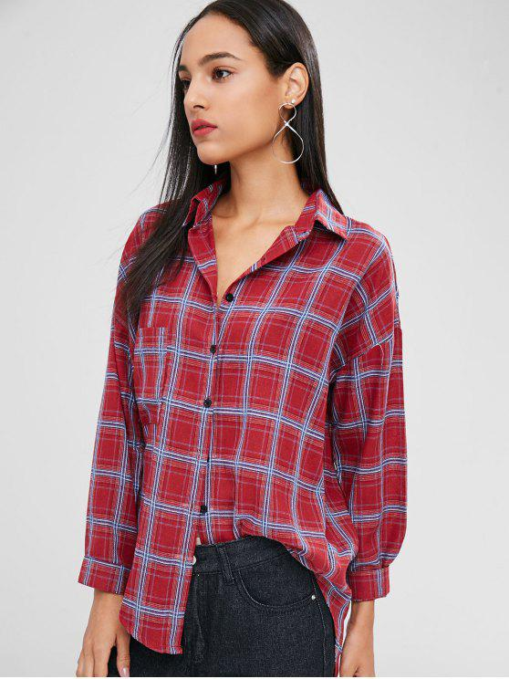 hot Buttoned Plaid High Low Shirt - RED WINE XL
