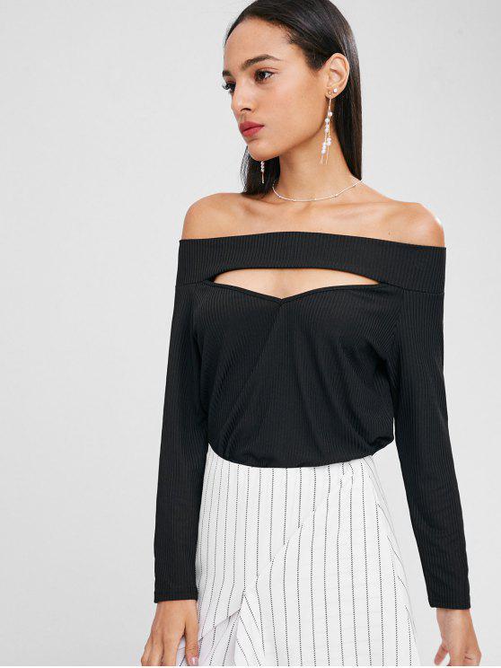 17177de32d458 42% OFF  2019 Cut Out Off Shoulder Top In BLACK