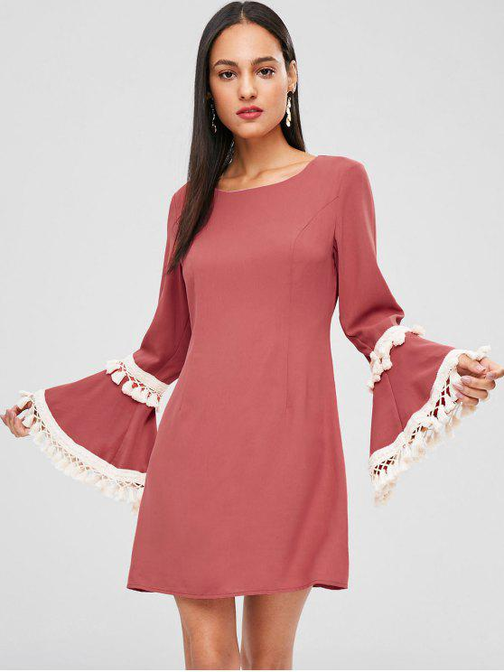 women's Tassels Bell Sleeve Mini Dress - LIGHT CORAL M