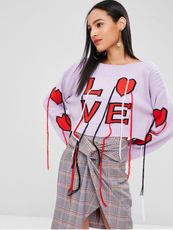 hot Drop Shoulder Heart Graphic Fringed Sweater - MAUVE M