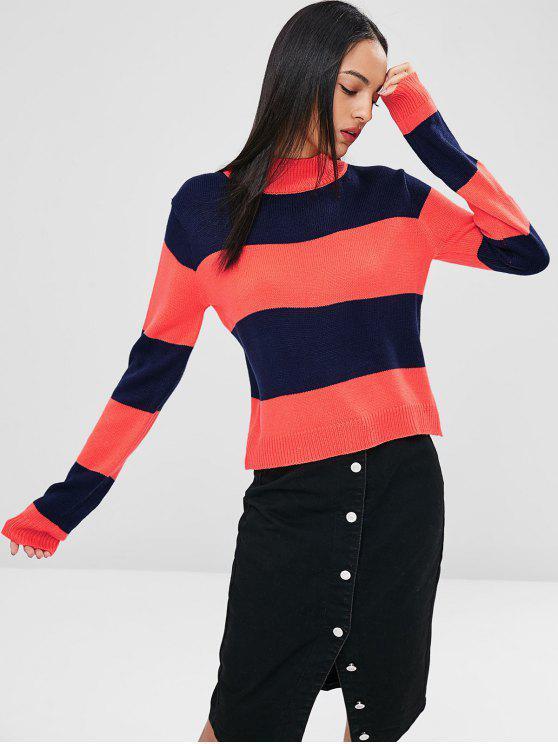 ZAFUL zweifarbiger Pullover mit hohem Kragen - Schockierendes Orange L