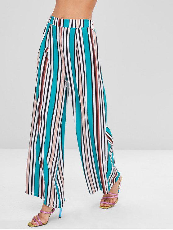buy ZAFUL Colorful Striped Wide Leg Pants - SEA TURTLE GREEN S