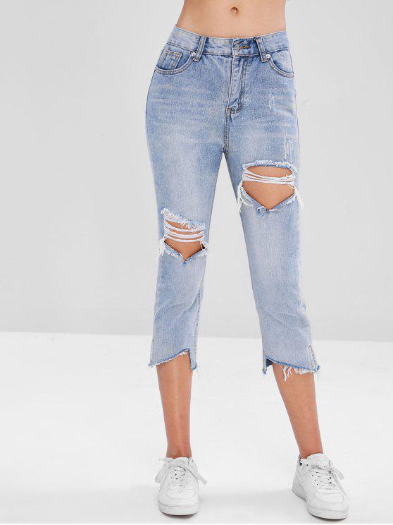 online Frayed Hem Cut Out Jeans - DENIM BLUE XL