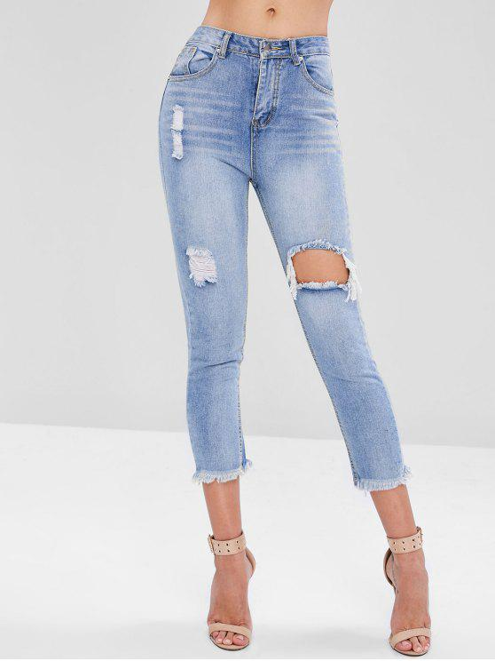 hot Ripped Cut Out Jeans - DENIM BLUE M