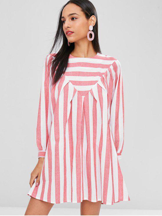 hot Striped Tunic Mini Dress - CHERRY RED M