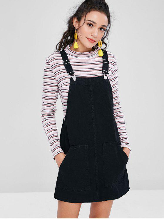 trendy Pockets Denim Pinafore Dungaree Dress - BLACK S