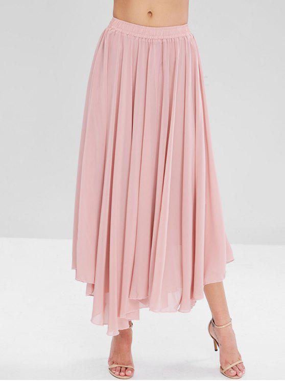 2b3c6c3fa7 29% OFF] 2019 Flowy Layered Chiffon Maxi Skirt In PINK | ZAFUL