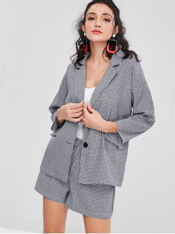 outfits Buttoned Gingham Blazer Shorts Set - BLACK ONE SIZE