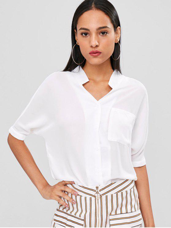 new Button Up Longline Pocket Blouse - WHITE XL