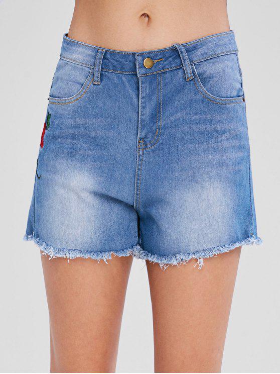 Blumen Bestickte Jeans Shorts - Helles Stahlblau S