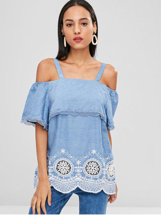 women's Crochet Cold Shoulder Tunic - SKY BLUE S