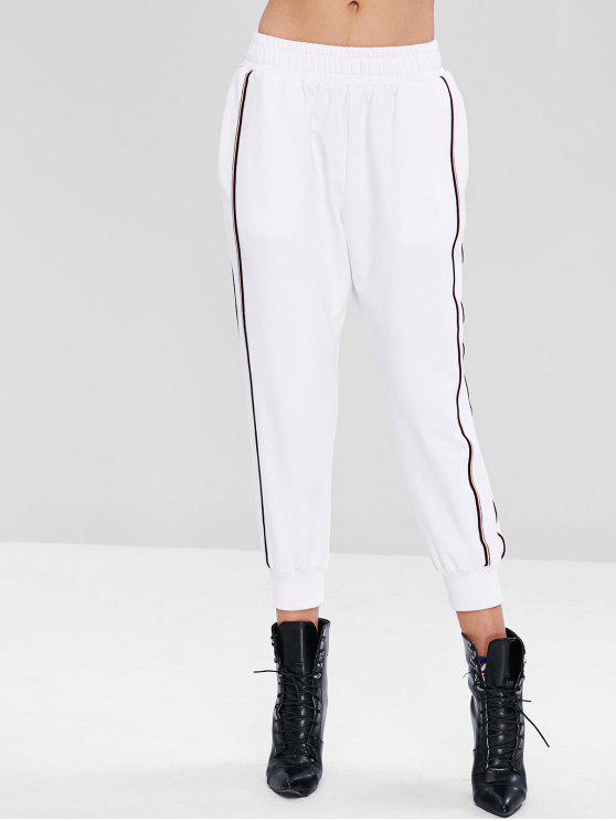 ladies Sporty Striped Panel Ninth Pants - WHITE S