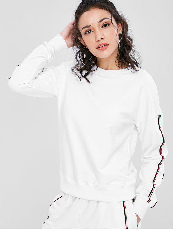 hot Soprty Striped Panel Sweatshirt - WHITE L