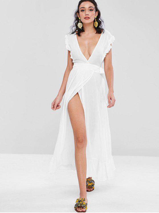 الكشكشة التفاف فستان ماكسي - أبيض L