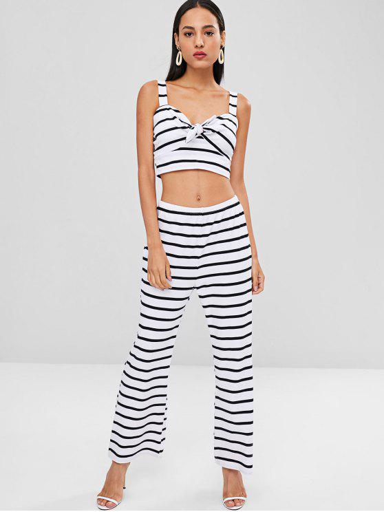 affordable Striped Tie Front Top and Pants Set - WHITE L