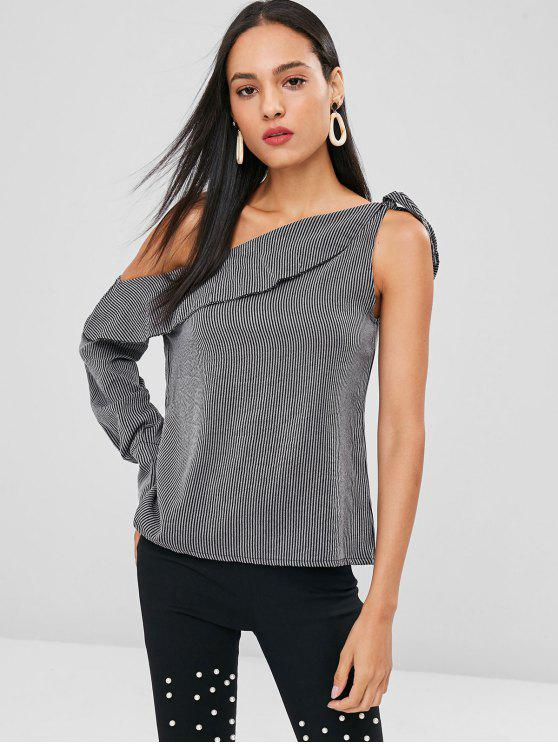 women Stripes One Shoulder Top - DARK GRAY L