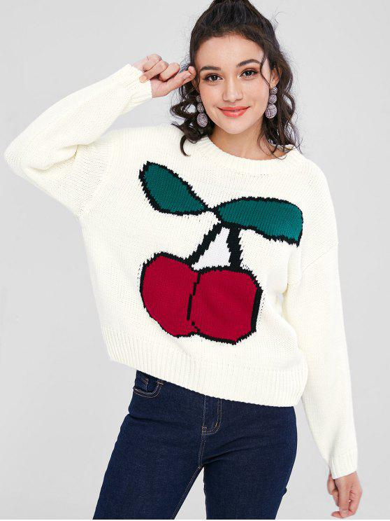 Cherry Jacquard Graphic Oversized Pullover - Weiß L